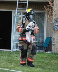 hond uit brand gered