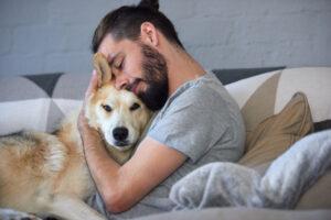 hond knuffelen sofa